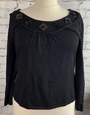 JOSEPH A Womens Black Sweater Plus 2X Rayon Beaded Neckline Pullover Light Knit