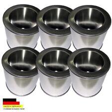 6 Brennstoffdosen aus Weißblech 0,25 l. Volumen + 6 Sparplatten aus Edelstahl