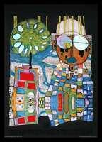 Hundertwasser Tropenchinese Poster Bild Kunstdruck im Alu Rahmen schwarz 59x84cm