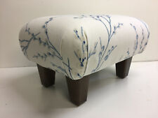FOOTSTOOLS  IN LAURA ASHLEY PUSSY WILLOW OFF WHITE/SEASPAY   FABRIC