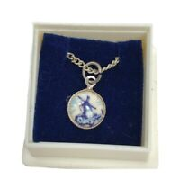Vintage Holland Necklace Blue Painted Windmill Silver Plated Pendant 14 Inch NOS