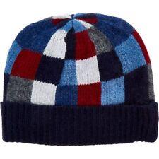 HACKETT Blue Winter Beanie Lambswool Hat - Checkerd Pattern - Adult Size rrp £65