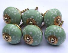 commode placard poignées boutons vert rond fleur blanche Peint Pétales (cuivre)