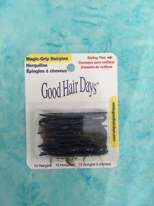 """Magic Grip Hairpins  2 1/2""""  (10) pcs.- BLACK by Good Hair Days-Made in USA!"""