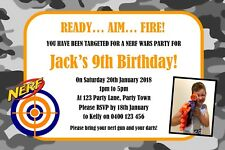 Personalised Nerf Gun Birthday Party Invitation - You Print