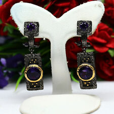NATURAL VVS 7 - 4 mm. ROUND CUT PURPLE AMETHYST EARRINGS 925 STERLING SILVER