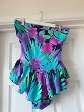 M&S Vintage Retro 1950's Multicoloured Floral Frill Strapless Swimsuit Size 14