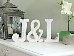 LARGE SHABBY CHIC VINTAGE WHITE WOODEN LETTERS INITIALS WEDDING DECOR 15cm HIGH