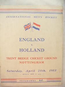 RARE VINTAGE PROGRAMME ENGLAND v HOLLAND INTERNATIONAL APRIL 25TH 1953