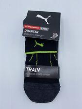 PUMA Performance Sports Socks Quarter (SIZE 9-11) Trainer Socks BLACK Arch Suppo