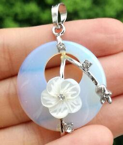 Opal White shell flower  Pendant Chakra Reiki Healing Amulet Energy