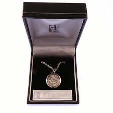 "Silver plated Padre Pio gift boxed round 1.8cm medal and 18"" necklace Catholic"