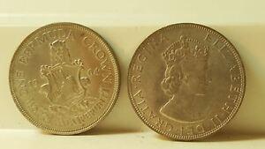 Lot of 2, 1964 Bermuda 1 crown silver coins