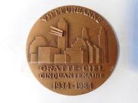 Médaille Bronze Française Villeurbanne Gratte Ciel Cinquantenaire 1934 1984