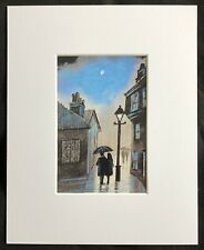 "Through The City Night original mounted art print 10""x8"" G.Burgess Cornwall"