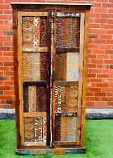 Reclaimed Timber Tall Hand Carved  Country Storage Cabinet Recycle Wardrobe