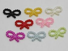 200 Mixed Color Acrylic Pearl Dotted Bowknot Bow Tie 18X10mm Scrapbook Craft
