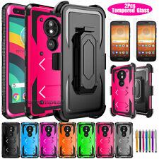 For Motorola Moto E5 Play/Go/Cruise Kickstand Holster Clip Case+Screen Protector