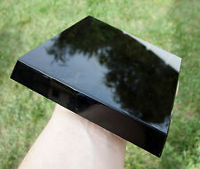 Jet BLACK OBSIDIAN Scrying Mirror Point Stand / BASE Volcanic Gold Sheen Flash