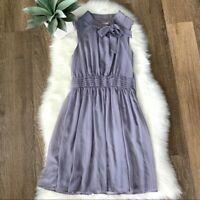 ModCloth Women's Lavender Neck Tie Sleeveless Dress Size S Silver Pin Stripped