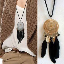 Women Vogue Bohemia Dream Catcher Feather Pendant Necklace Sweater Necklaces TO