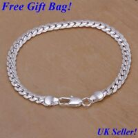 *UK* 925 Sterling Silver Solid Bracelet Chain Italian Style + Free Gift Bag