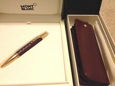 NEW MONTBLANC BOHEME BALLPOINT PEN 9929 RHODOLIT RED LEATHER SET CASE GOLD 25512