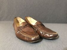 Freeman Mens Size 11 N Loafers Brown Dress Shoes Slip On Leather Narrow