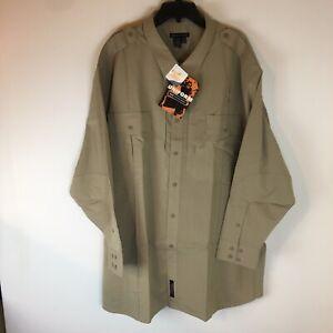 5.11 Tactical Series Class B Uniform Shirt Men 4 XLT Long Sleeve Button Tan