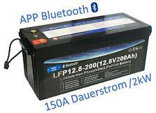 LiFePO4 12V 200AH Lithium Akku mit BMS Bluetooth für Camper Boot Solar Wohnmobil