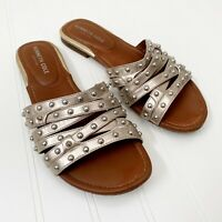 Kenneth Cole New York Women's Silver Studded Slip On Sandals Size 8.5