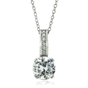 Platinum Plated Sterling Silver 100 Facets Cubic Zirconia Round Necklace (2ttw)