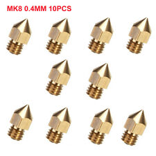 10pcs 0.4mm MK8 Extruder Nozzle For 3D Printer Makerbot Creality CR-10S S4 S5