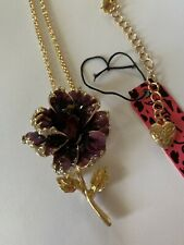 Betsey Johnson Purple Enamel Crystal Flower Fashion Brooch Pin/NECKLACE-BJ59308