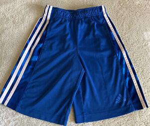 Adidas Climalite Boys Blue White Side Stripe Camouflage Basketball Shorts 8