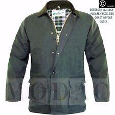 Mens Wax Jacket Padded Waxed Coat Hooded Hunting Farmers Outdoors Cord Collar