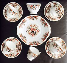 Vintage 16 Piece Colclough English Bone China Trios, Sugar Bowl & Cake Plate