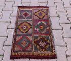 Anatolian Vintage Handmade Kilim Rug Cappadocia Embroidered Carpet 1.7x2.4 ft