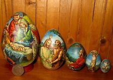 Nativity Christmas Nesting 5 EGG DOLL Baby Jesus Angel Russian hand painted GIFT