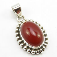 Solid Sterling Silver Carnelian Old Style Pendant 2.8 cm