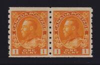 Canada Sc #126 (1923) 1c orange yellow Admiral Coil Pair Mint NH