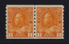 Canada Sc #126 (1923) 1c orange yellow Admiral Coil Pair Mint NH