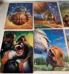 6-Vintage Mead No Rules Portfolio Folders Animals Sports Tiger Gorilla Bear 90s