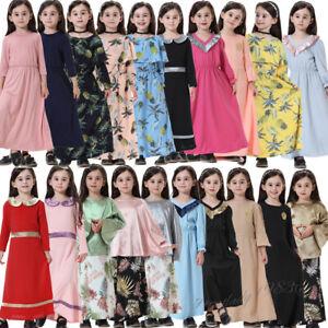 Kids Girls Child Long Sleeve Dress Kaftan Muslim Abaya Islamic Prayer Clothes