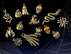 10 Pack Halloween Tibetan Silver Charms Owls Ghost Skeleton Bats Skull Spider