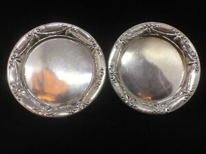 Pair Of Antique German 800 Silver Small Dishes Garland Decoration