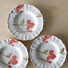 Three ceramic salad plates, pink flowers LOUCARTE, 8'' Dia, Portugal