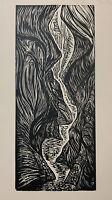 Woodcut Original Print Lure Me Into Slot Canyon Landscape Hiking Trail