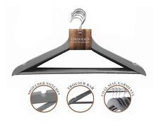8 Wooden Hangers Trouser Bar Shoulder Notches Coat Suit Clothes Natural Grey
