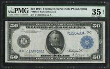 FR1034 $50 1914 FRN PHILADELPHIA PMG 35 EPQ CHOICE VF RARE 108 RECORDED WLM4369